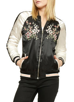 Embroidered Satin Bomber Jacket - BLACK - 1086051062928