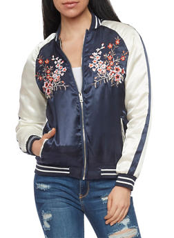 Embroidered Satin Bomber Jacket - NAVY - 1086051062928