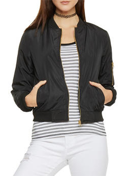 Zip Up Satin Bomber Jacket with Knit Trim - 1086051062929