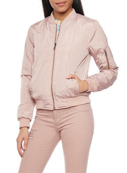 Satin Bomber with Rib Knit Trim - 1086051062930