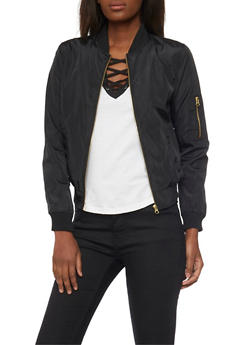 Bomber Jacket with Zip Sleeve Pocket - BLACK - 1086051063148