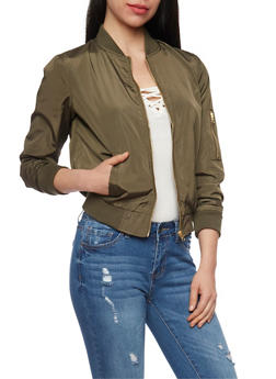 Bomber Jacket with Zip Sleeve Pocket - 1086051063148