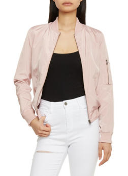 Bomber Jacket with Zip Sleeve Pocket - BLUSH - 1086051063148