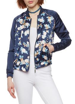 Floral Satin Bomber with Contrast Sleeves - 1086051063157