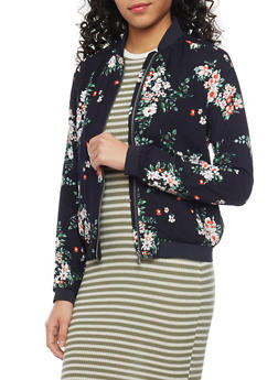 Floral Baseball Jacket with Elastic Trim - 1086051065000