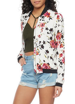 Black Floral Baseball Jacket with Elastic Cuffs - 1086051065500