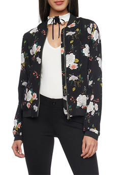 Floral Bomber Jacket with Elastic Trim - 1086051065501
