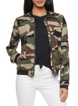 Camo Print Bomber Jacket with Elastic Trim - 1086051065502