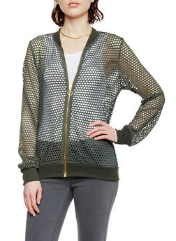 Perforated Zip Up Bomber Jacket - OLIVE - 1086051065634