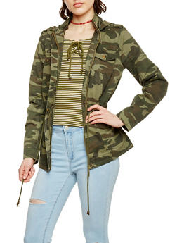 Camouflage Zip Up Twill Hooded Anorak Jacket - 1086051065764
