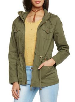 Zip Up Twill Anorak Hooded Jacket - OLIVE - 1086051067110