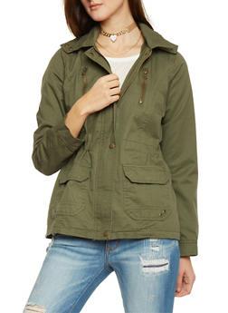 Hooded Drawstring Waist Anorak Jacket - 1086051067496