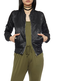 Rouched Satin Bomber Jacket - BLACK - 1086051067530