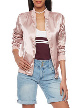Rouched Satin Bomber Jacket - MAUVE - 1086051067530