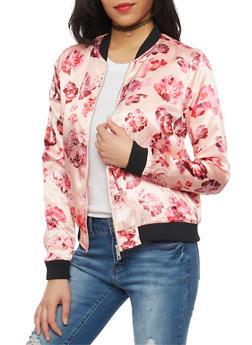 Floral Satin Bomber Jacket - PINK - 1086051067534