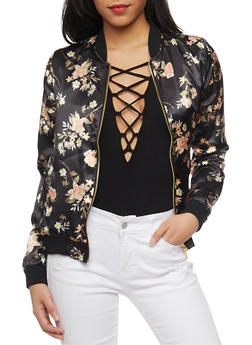 Floral Satin Bomber Jacket - RUST - 1086051067534