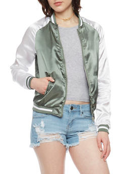 Zip Up Color Block Bomber Jacket - SAGE S - 1086051067552