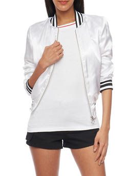 Satin Bomber Jacket with Varsity Stripe Rib Knit Trim - WHITE - 1086051067557