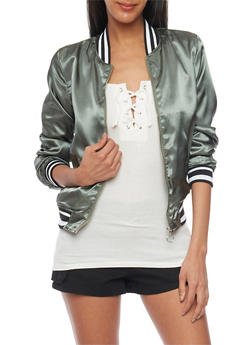 Satin Bomber Jacket with Varsity Stripe Rib Knit Trim - 1086051067557