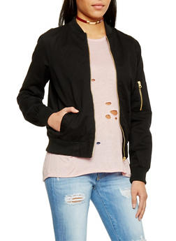 Twill Bomber Jacket with Zipper Detail - BLACK - 1086051067575