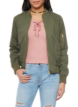 Twill Bomber Jacket with Zipper Detail - OLIVE - 1086051067575