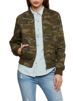 Camo Bomber Jacket with Rib Knit Trim - 1086051067576