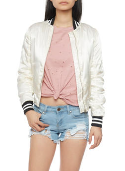 Satin Bomber Jacket with Striped Trim - IVORY - 1086051069266