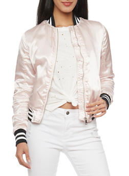 Satin Bomber Jacket with Striped Trim - MAUVE - 1086051069266