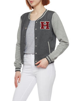Button Front Baseball Jacket with Rib Knit Trim - 1086054266225
