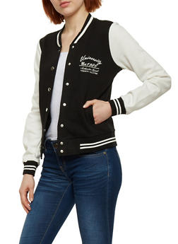 Button Front Baseball Jacket - BLACK/IVORY - 1086054266551