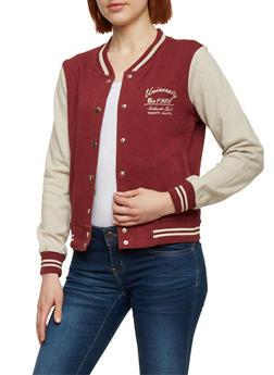 Button Front Baseball Jacket - BURGUNDY - 1086054266551