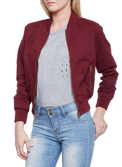 Zip Front Twill Bomber Jacket - BURGUNDY - 1086054269116