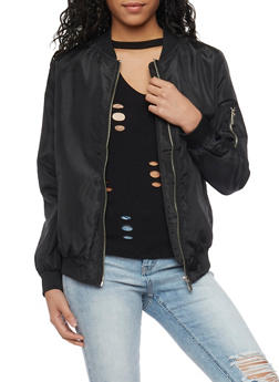 Satin Bomber Jacket - BLACK - 1086054269420