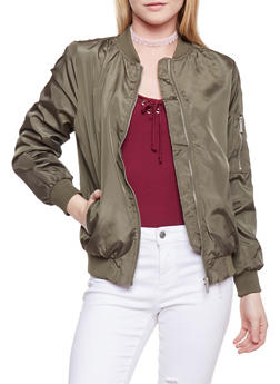 Satin Bomber Jacket - OLIVE - 1086054269420