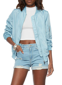 Satin Bomber Jacket - LIGHT BLUE - 1086054269420