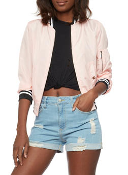 Bomber Jacket with Striped Trim Cuffs - BLUSH - 1086054269421