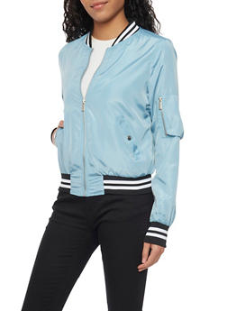 Bomber Jacket with Striped Trim Cuffs - LIGHT BLUE - 1086054269421