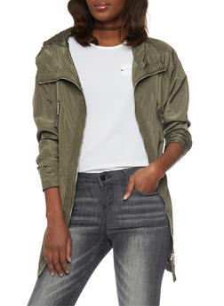 Hooded Anorak Jacket with Zip Up Closure - OLIVE - 1086054269422