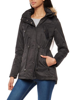 Faux Fur Lined Hooded Anorak Jacket - 1086064212801