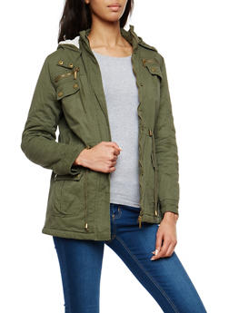 Twill Anorak Jacket with Sherpa Lined Hood - 1086064213033