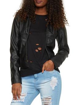 Faux Leather Zip Up Long Sleeve Moto Jacket - 1087051060211