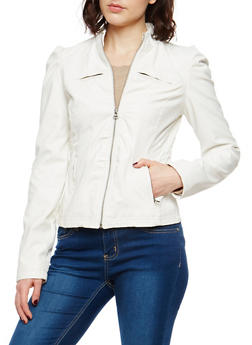 Ruched Side Faux Leather Jacket - 1087051060494