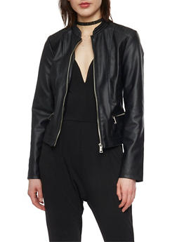 Faux Leather Moto Jacket with Quilted Shoulders - 1087051060870