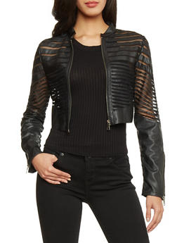 Cropped Faux Leather Zip Up Jacket with Mesh Inserts - 1087051062122
