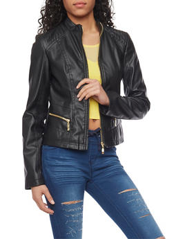 Faux Leather Zip Front Moto Jacket - 1087051062912