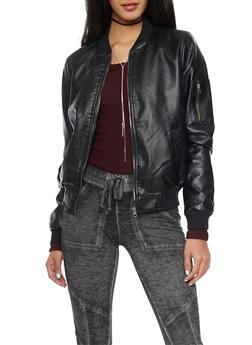 Faux Leather Bomber Jacket - 1087051062931