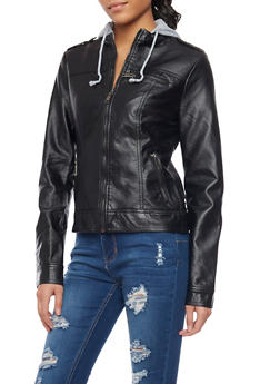 Leather Jacket with Contrast Hood - 1087051062932