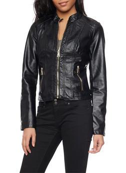 Paneled Faux Leather Jacket - 1087051062934