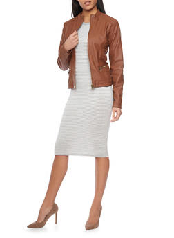 Faux Leather Moto Jacket with Zip Front - 1087051063502