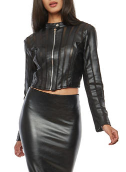 Crop Faux Leather Jacket with Mesh Detail - 1087051064526